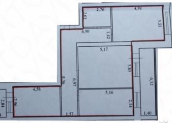 3-к квартира, 89 м2, 3/4 эт.