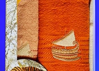Полотенца махровые с вышивкой в подарочной упаковке оптом  (2 шт)