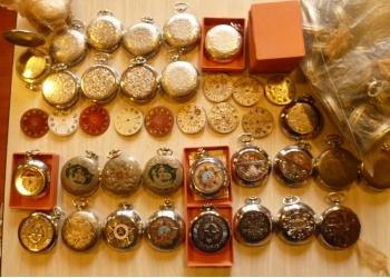 """Продажа, Корпуса со стеклом карманных часов """"Молния"""", циферблаты и часы"""