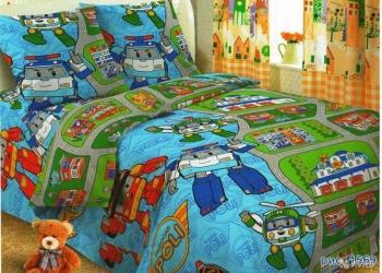 Поли робокар - постельное белье из поплина 1.5спальный