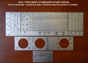 Шильдики для токарных станков ИТ1М, ИТВ250, 1К62,  16К20, 16В20, 16К25.