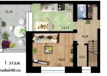 2уровневая 3-к квартира, 120 м²