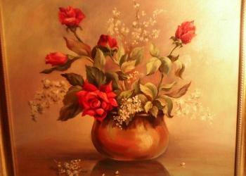 """Картина маслом """"Красные розы"""" от автора для украшения интерьера"""