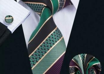 Мужской набор (галстук, платок и запонки) #1