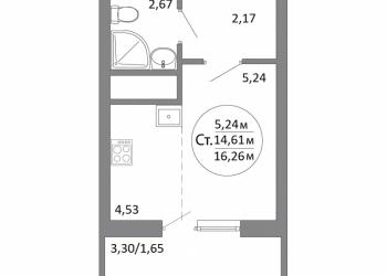 1-к квартира, 16 м2, 3/19 эт.