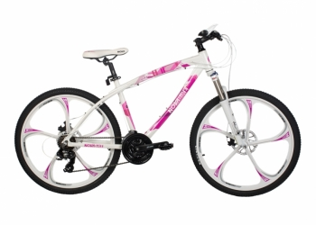 Велосипед на литых дисках  Ray white/pink