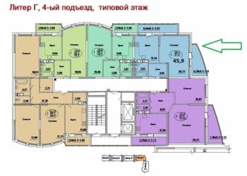 1-к квартира, 46 м2, 19/20 эт. ПОДРЯДЧИК