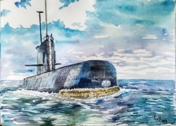 Подводная лодка акварель картина подарок