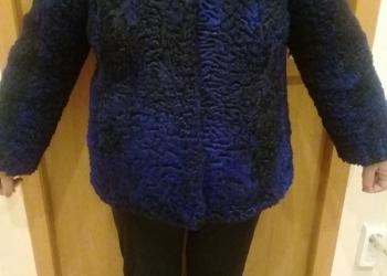 Шуба черно- голубая из барашка