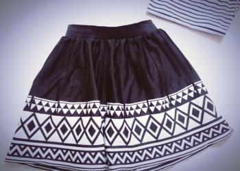 Юбка чёрно-белая модная!