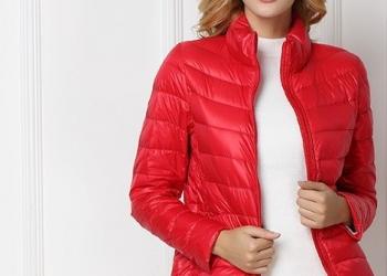 Куртка женская на утином пуху утепленная с длинным рукавом.