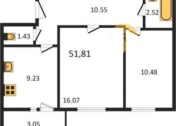 2-к квартира, 53 м2, 2/10 эт.2-Х к.кв. в Арбековской заставе, этап сдачи дома.