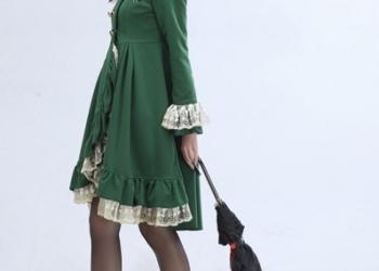Зеленое платье мундир