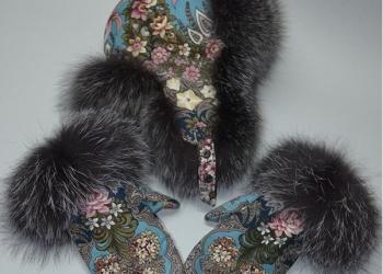 Меховые шапки из павлопосадских платков