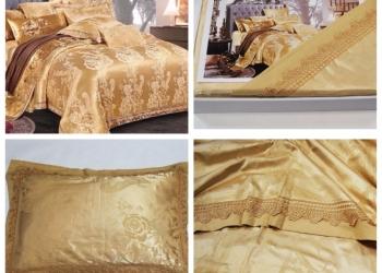 Евро комплект постельного белья жаккард с вышивкой