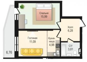 2-к квартира, 47 м2, 5/17 эт.