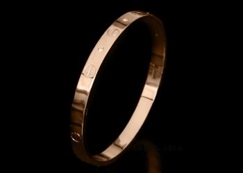 Браслет Cartier Love Rose Gold 18К c цирконами (R679)