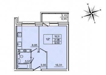 Продаю 1-к квартиру в Санкт-Петербурге, 32 м2, 4/22 эт.