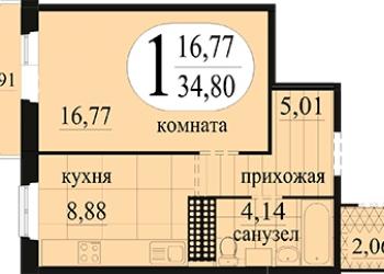 1-к квартира, 36 м2, 5/16 эт. 1480тр