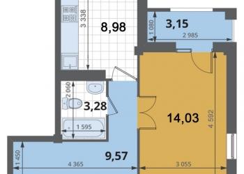 1-к квартира, 39 м2, 1/4 эт.