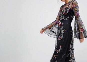 Вечернее платье-миди с вышивкой