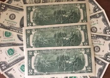 Счастливая купюра 2 (два доллара) США 2013г
