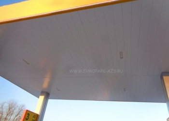 Оцинкованная реечная панель для фасадов и потолков навесов на АЗС