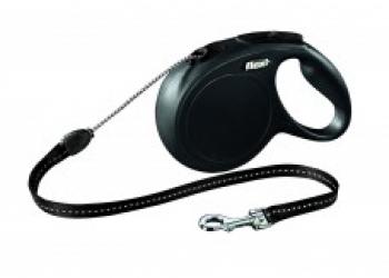 Рулетка-трос для собак до 20кг, 8м, черная, New Classic M cord