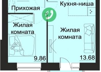 2-к квартира, 41 м2, 2/3 эт.