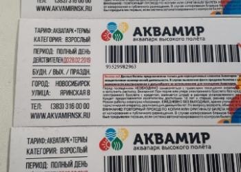 Билеты в аквапарк Новосибирска 3 билета
