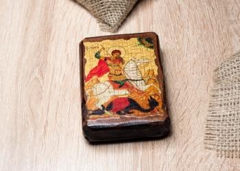 Икона святого Георгия чудо о змие. Состаренная вручную