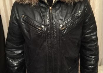 Куртка зимняя кожаная чёрная на меху б/у 48-50