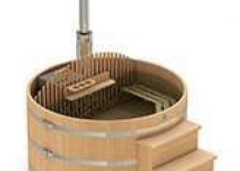 Круглая купель из кедра со встроенной печью