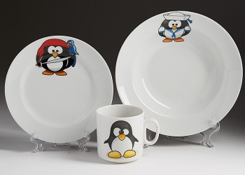 """Набор посуды детский 3-предмета """"Пингвинчики"""""""