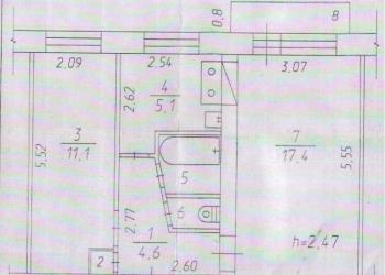 2-к квартира, 42 м2, 5/5 эт.