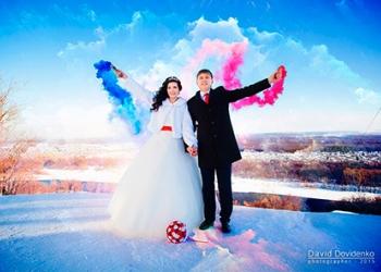 Цветной дым для свадьбы, фотосессии от МегаПир