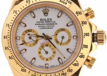 Часы Rolex Daytona золотые, белый циферблат
