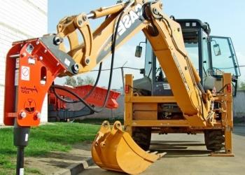 Экскаватор с гидромолотом, демонтаж фундамента и бетонных конструкций
