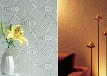 Оклейка стен обоями под покраску, покраска обоев