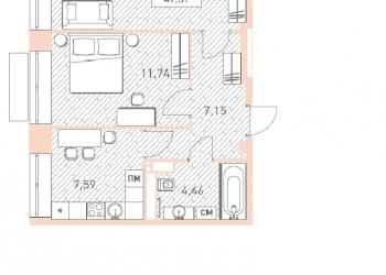 Продается 2-к квартира, 47 м2, 2 эт.