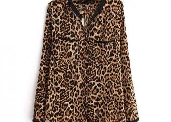 Новая леопардовая блузка с длинными рукавами