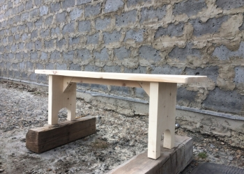 Лавка деревянная, изделия из дерева.