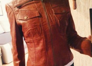 Кожаная куртка с замшевым капюшоном