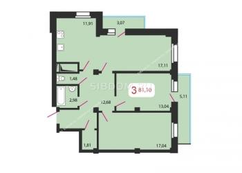 3-к квартира, 81 м2, 12/25 эт.Полтавская 38