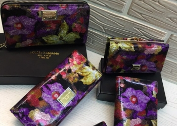 Кожаные кошельки DolceGabbana с логотипом бренда