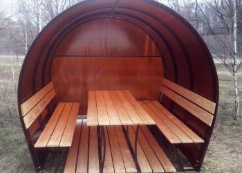 Оригинальные беседки! Стол и скамейки из лиственницы! Порошковая покраска!