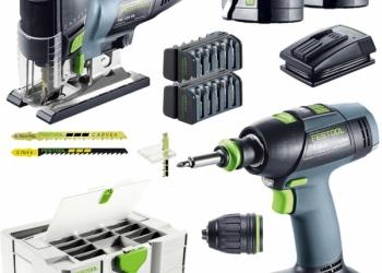Монтажный набор Festool из аккумуляторной дрели-шуруповёрта и маятникового лобзи