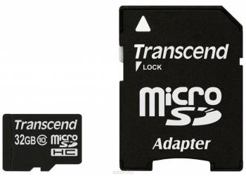 Transcend microSDHC Class 10 32GB карта памяти + адаптер