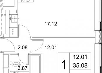 1-к квартира, 38 м2, 2/7 эт.