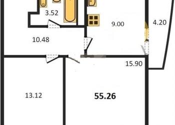 2-к квартира, 55 м2, 14/17 эт.
